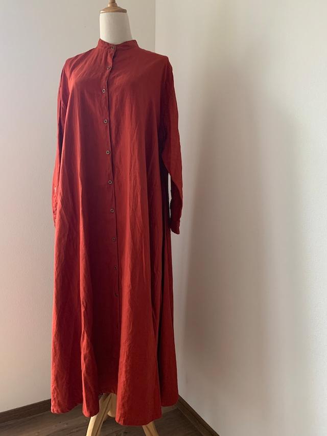 マキシ丈シャツドレス