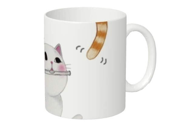 フルート猫のマグカップ(尻尾)