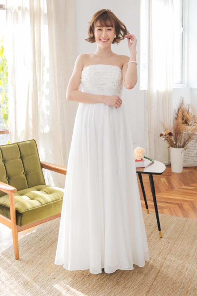 ビジューで可愛い エンパイアドレス (ウェディングドレス 2次会 結婚式 )