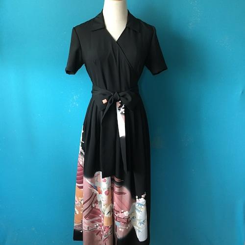Vintage black kimono wrap dress/ US 6, vintage stock