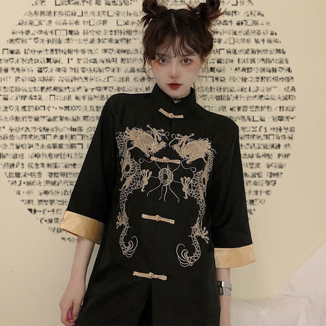 チャイナ風トップス アウター シャツ チャイナ風服 改良唐装 普段着 ブラック 黒い