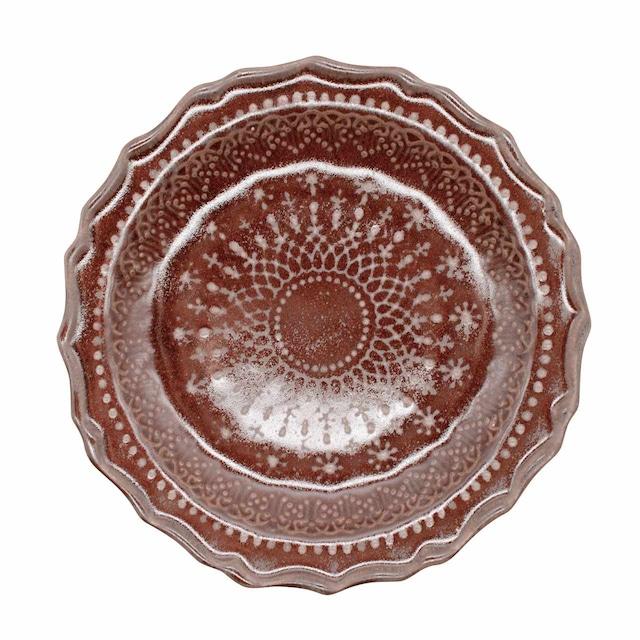 益子焼 わかさま陶芸 「フレンチレース」 プレート 皿 M 約20cm ブラウン 256005