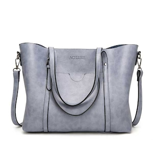 PUレザーハンドバッグ 財布付きポケット Light blue