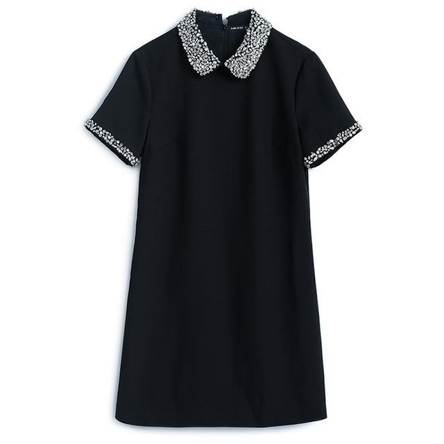 【即納】ブラックSのみ 全2色ビジュー襟半袖ワンピース