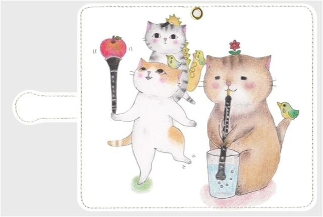 【特価】(Android Mサイズ用)オーボエ猫の手帳型スマホケース