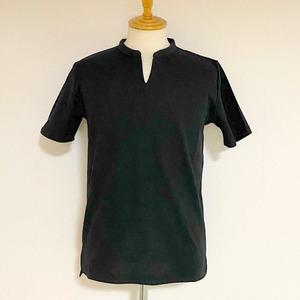 Shiny Ripple Key Neck T-shirts Black