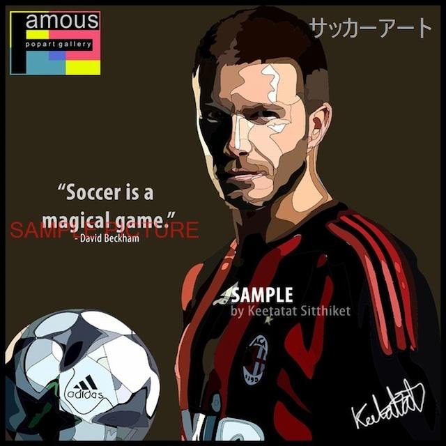 サッカーグラフィックアートパネル デビッド・ベッカム ACミラン 木製 壁掛け ポスター (001-003)
