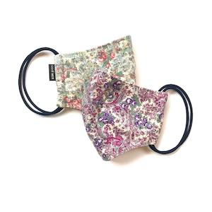 【新作レディース 夏用デザイナーズマスク2枚セット COOLMAX使用 日本製】花柄ペイズリーマスク グリーン色 × 紫色