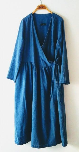 【 price down 】藍染め リネンカシュクールワンピース【toll size]