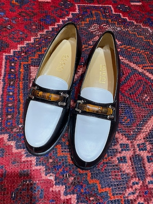 .GUCCI BICOLOR BAMBOO LEATHER HORSE BIT LOAFER MADE IN ITALY/グッチバイカラーバンブーレザーホースビットローファー2000000052236