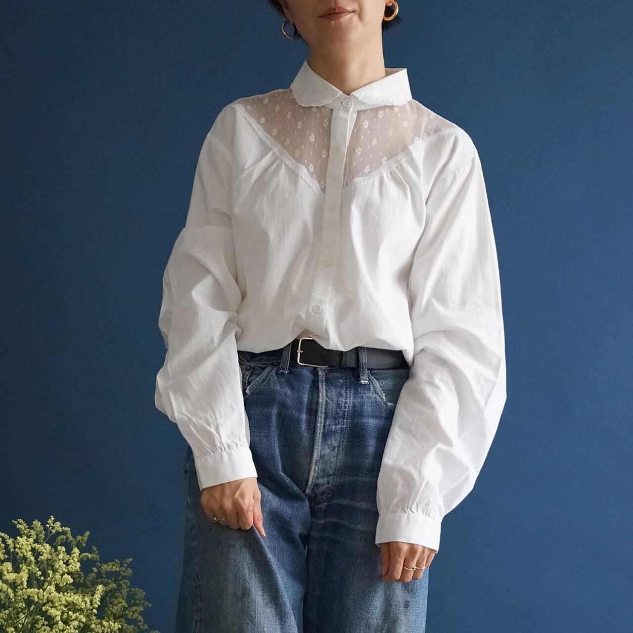 【送料無料】 Vintage white cotton blouse with tulle yoke(アンティーク 古着 チュール ヨーク ブラウス)