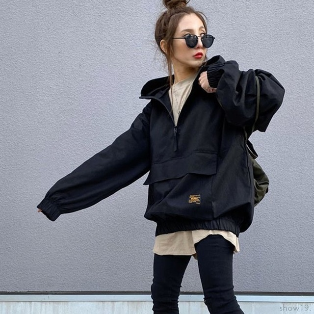 【アウター】新品殺到 連続販売  ファッションジッパーレディース無地アルファベットフード付き ジャケット-2-53905450