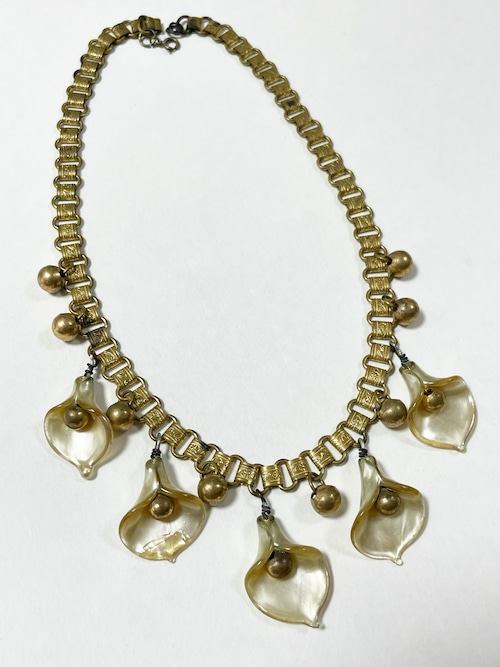 1930's〜40's Vintage Art DecoBook Chain  Calla Lily Choker Necklace