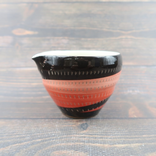 小石原焼 3.5寸片口鉢 トビカンナ 黒赤 鶴見窯