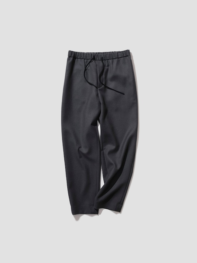 ATON SUPER 160'S DOUBLE SAXONY TAPERED EASY PANTS CHARCOAL GRAY PRAGIW0901