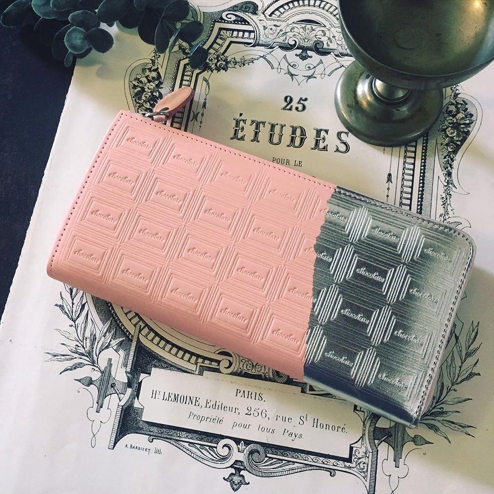 訳あり:革のストロベリーチョコ長財布(銀の包み紙)