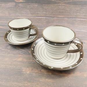 小石原焼 ペアコーヒーカップアンドソーサー トビカンナ 上鶴窯