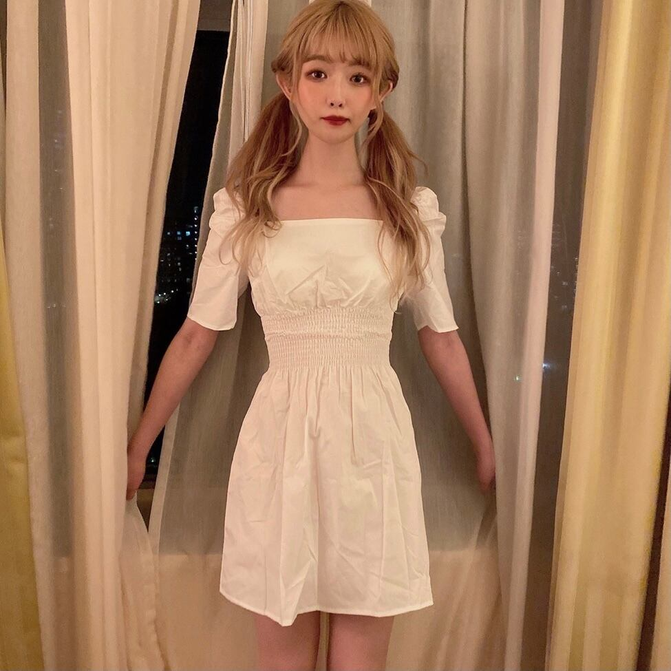 【SSC atelier】square neck onepiece (white)