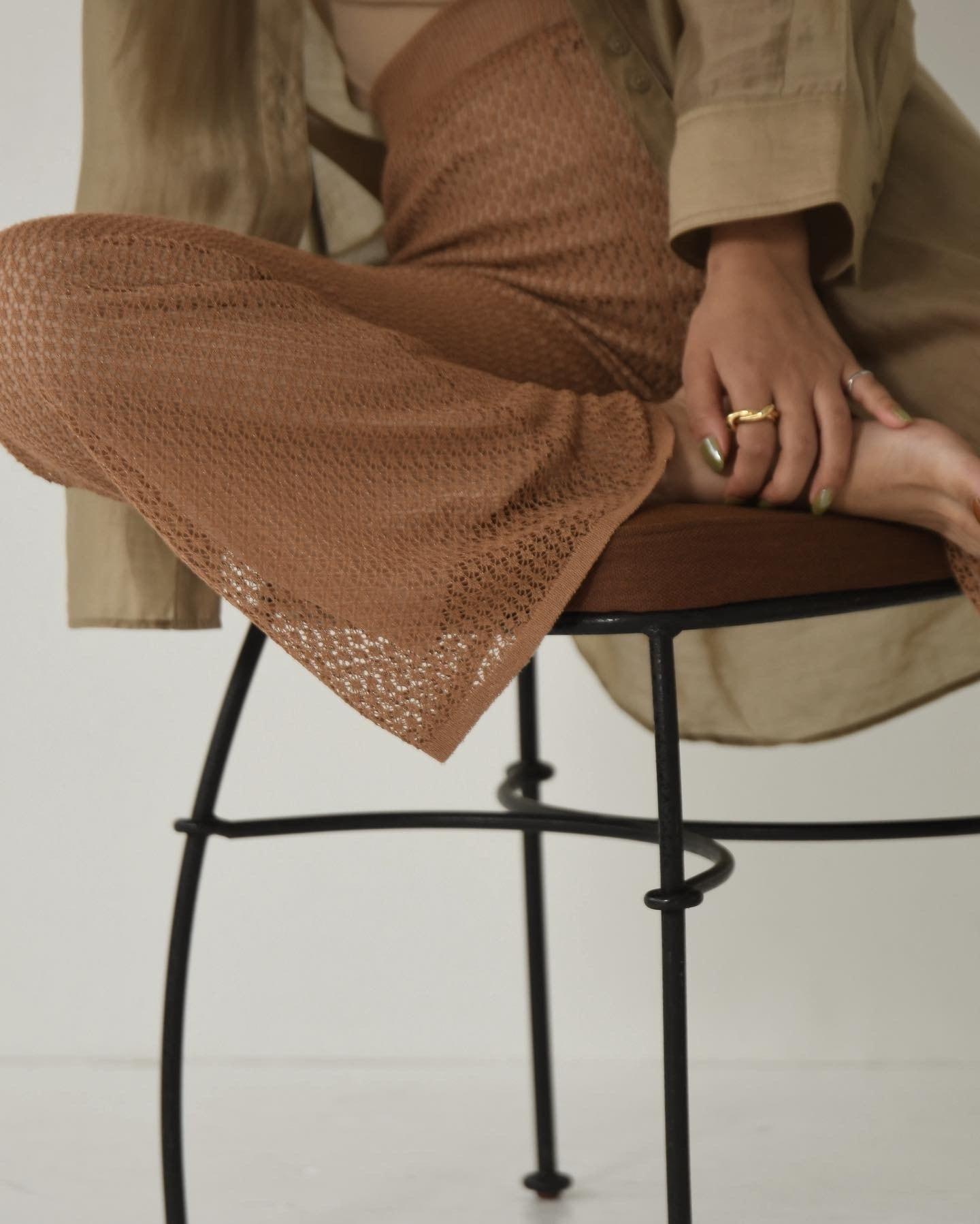 lady mesh knit pants