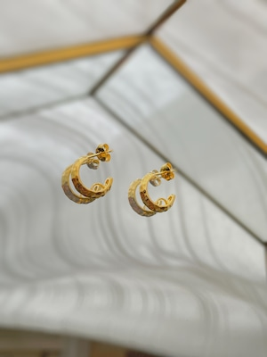 UCE-34G Hammer Finish Connect earrings ゴールドコーティング