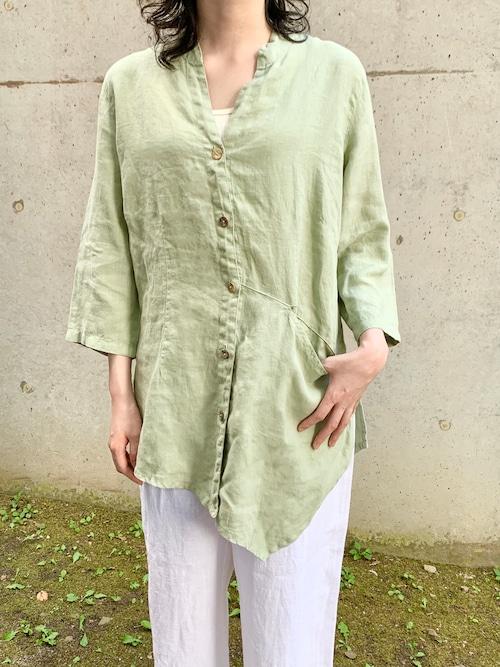 Vintage Linen Asymmetry Shirt Made In USA