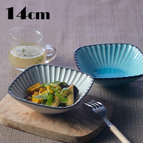 MM-0076 【14cm レリーフ小鉢】 縁の土色のラインとレリーフがおしゃれな小鉢