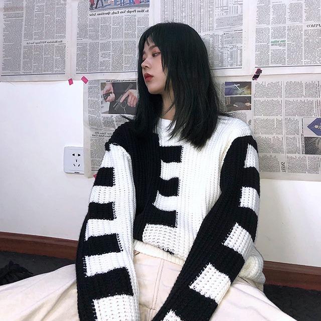 【トップス】ストリート系長袖切り替え配色ラウンドネックプルオーバーセーター43011027