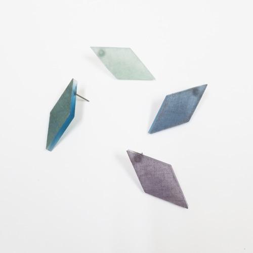 藍染/泥染/幾何学片耳用ピアスイヤリング/E-6_DS_AI