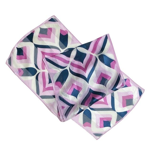 【低価格】シルク100%|日本製|横浜スカーフ 手捺染 クローバーアート|モダンテイスト♪【sp044】