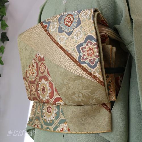 正絹 江戸鼠に宝相華の袋帯