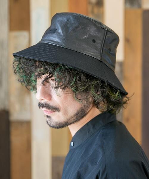 PU&TWILL BUCKET HAT 【フェイクレザー&ツイルバケットハット】