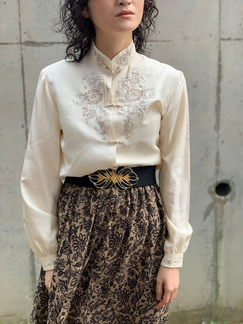 Vintage Ecru Color Silk Chinese Embroidered Blouse
