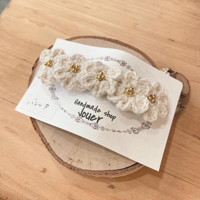 手縫いレースの小花ヘアクリップ ホワイト