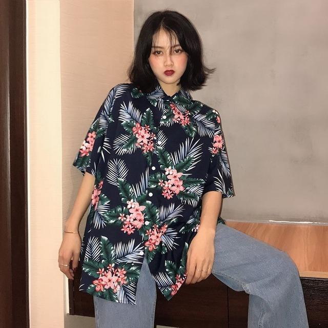 ユニセックス シャツ 半袖 メンズ レディース Vネック フラワープリント オーバーサイズ 大きいサイズ ルーズ ストリート TBN-613173529936