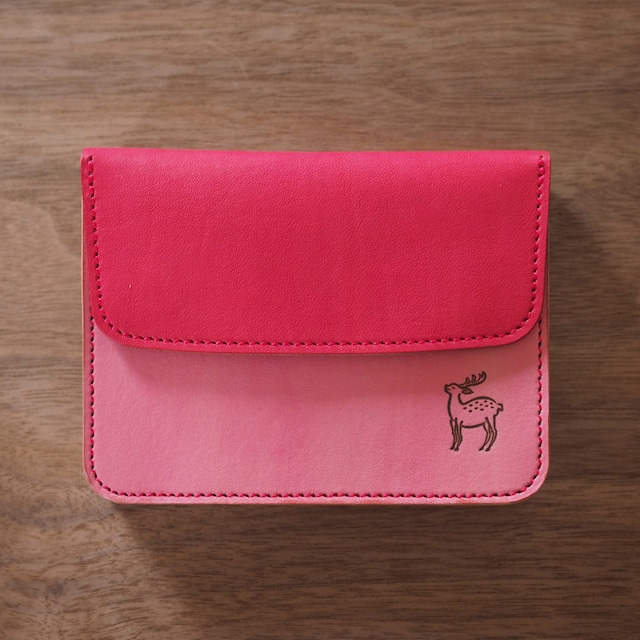 蛇腹ポケット財布(緋色×桃紅色 / AKE IRO x TOUKOU IRO)ミニ財布