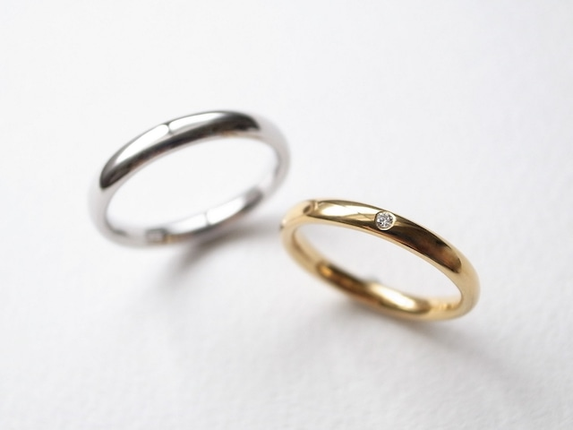 【pairing・stamp】K18YG Diamond・silver950/oval ring