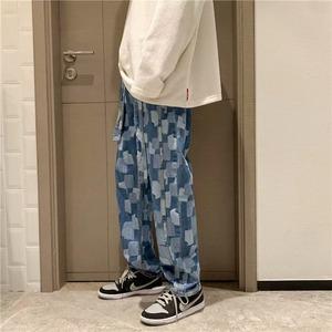 【ボトムス】ストリート配色チェック柄ハイウエストカジュアルパンツ42910935