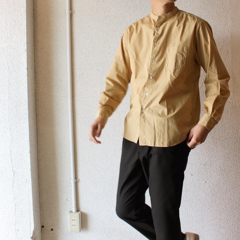 Manual Alphabet(マニュアル アルファベット)/  Loose Fit Bandcollar Shirts(ルーズフィット バンドカラーシャツ)イエローベージュ