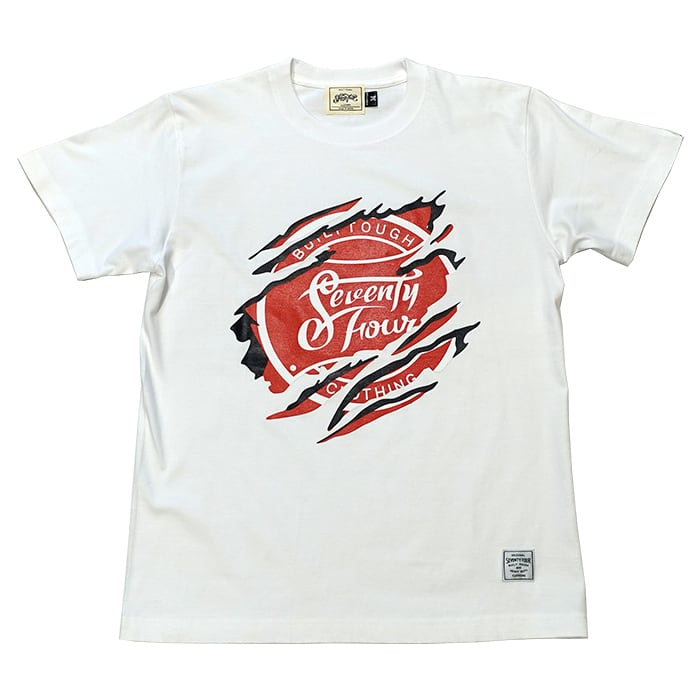 SEVENTY FOUR(セブンティーフォー) / T-SHIRT(RIPPER LOGO)(WHITE)(STF21FW12)(Tシャツ)