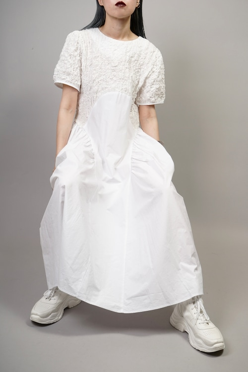 MIX MATERIAL SWITCHING ONE PIECE  (WHITE) 2106-35-31