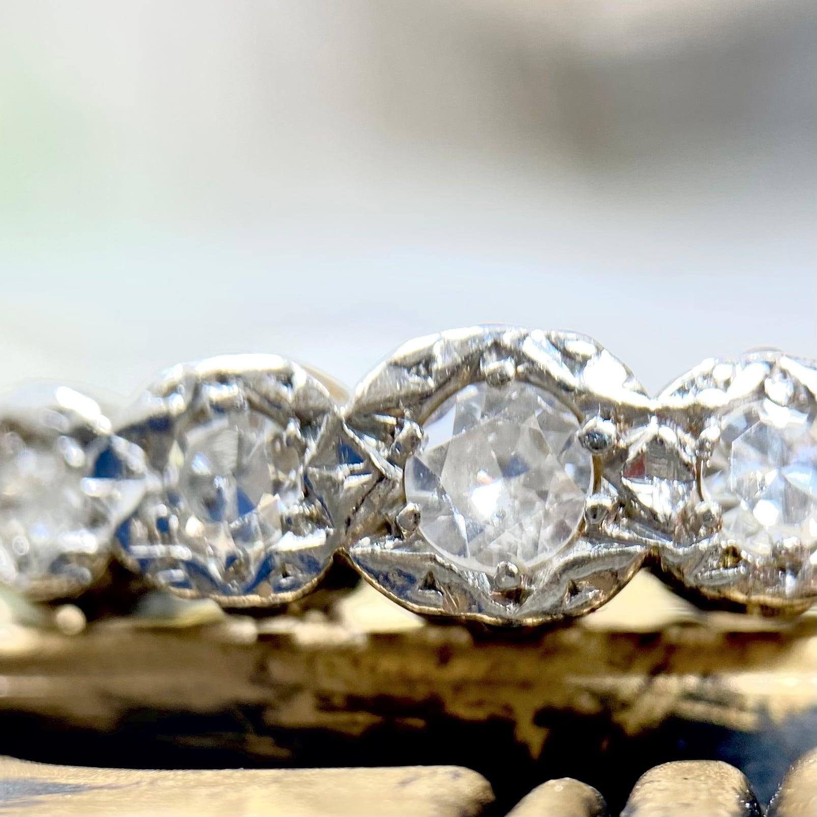 1900年代初期イギリスアンティークリング ダイヤモンド5pc