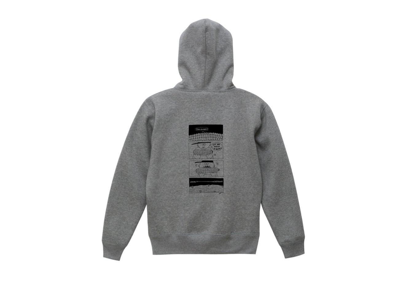 SHI × coguchi Corn SD hoodie (GRY/BLK)