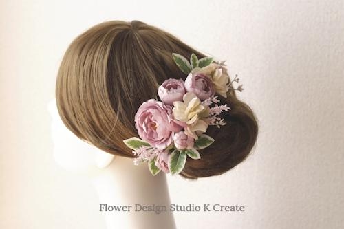 くすみピンクの薔薇と紫陽花のヘッドドレス(14本セット) アーティフィシャルフラワー  モーブピンク 結婚式 発表会 髪飾り