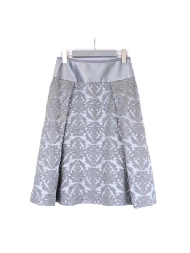 ウールサテン刺繍切替スカート