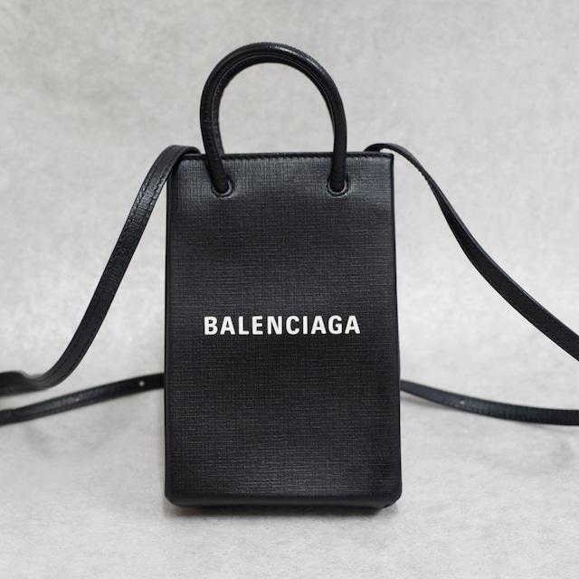 BALENCIAGA バレンシアガ ショッピング フォンフォルダー 2WAYバッグ レザー ブラック