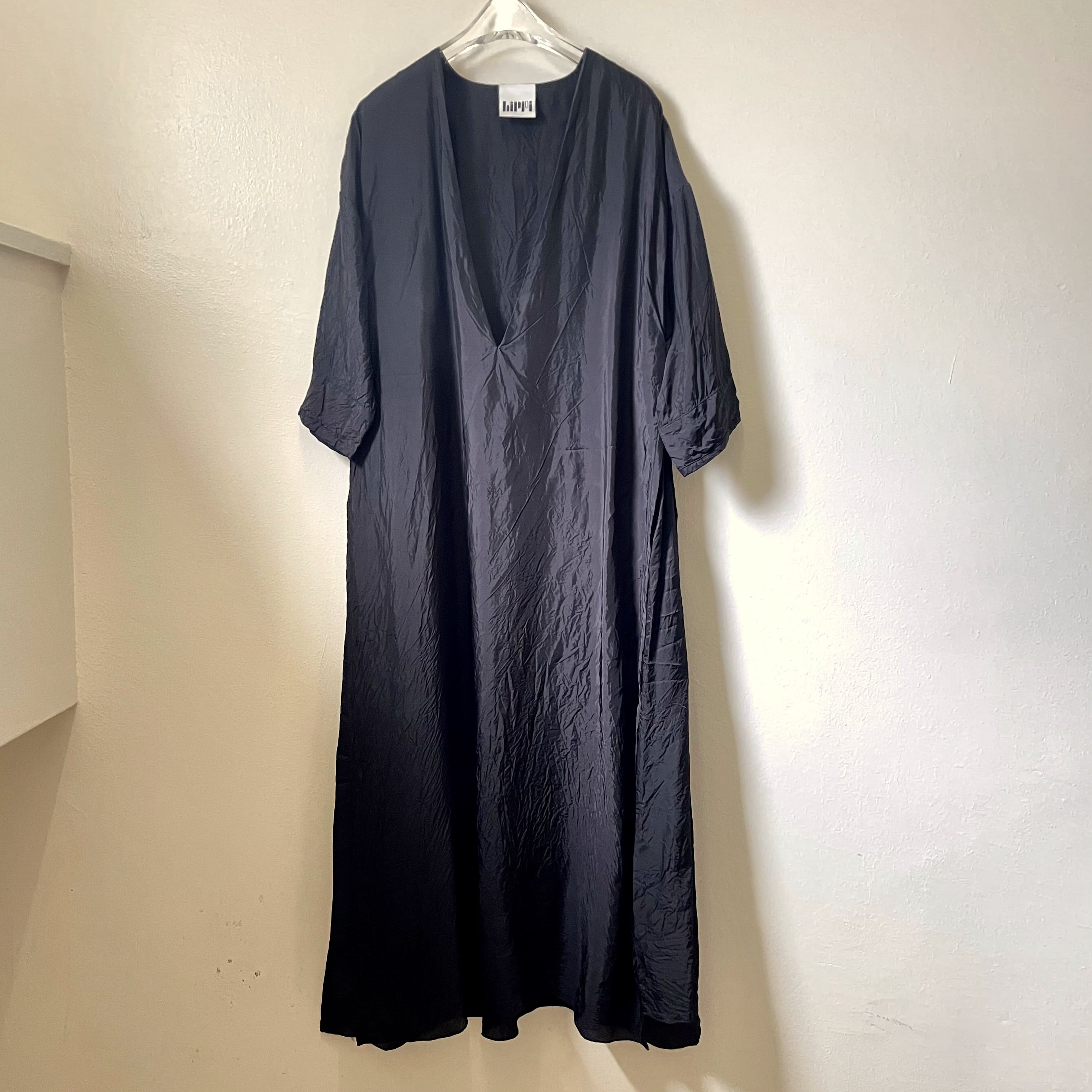 【hippiness × Sakurako.】cupro folkdress(black bamboo)/ 【ヒッピネス × サクラコ.】キュプラ フォークドレス(黒竹)