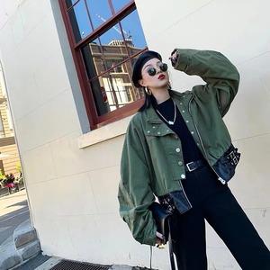 【即納】hem leather short jacket