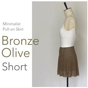 ◆[SHORT] Limited Edition・ Minimalist Ballet Skirt : Bronze Olive (ショート丈・プルオンバレエスカート『ミニマリスト』(ブロンズ・オリーブ))