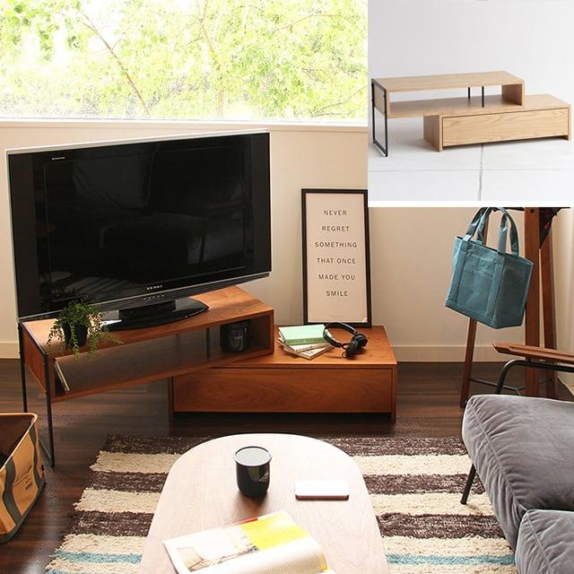 本気でお薦めする伸縮式のテレビボード。ブラウンとナチュラルの二色展開。