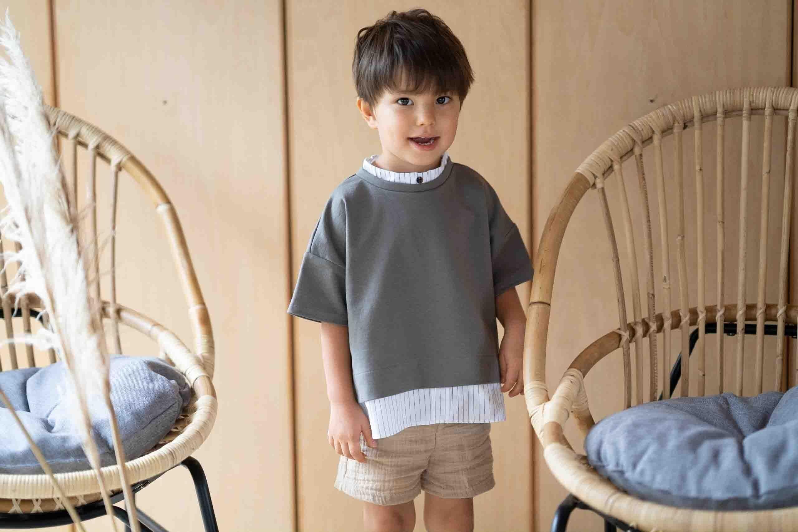デザインコラボグレーTシャツ+ショートパンツセット